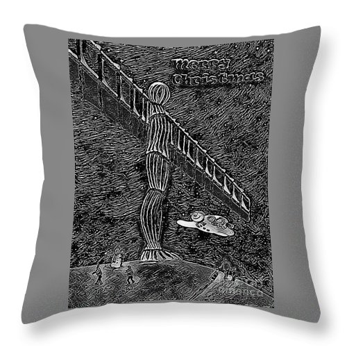 Angel Christmas Throw Pillow featuring the painting Angel Of The North by Neal Crossan