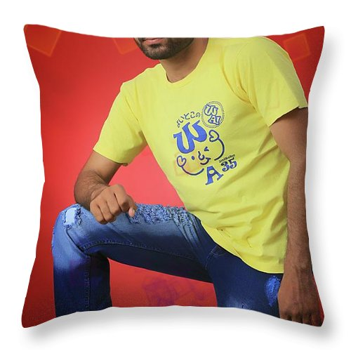 Throw Pillow featuring the pyrography ART by Naveed Abbas