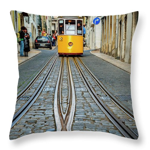 Bica Throw Pillow featuring the photograph Bica Funicular, Lisbon, Portugal by Karol Kozlowski