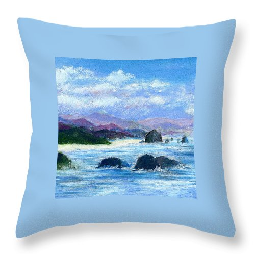 Miniature Throw Pillow featuring the painting Cannon Beach by David Patterson