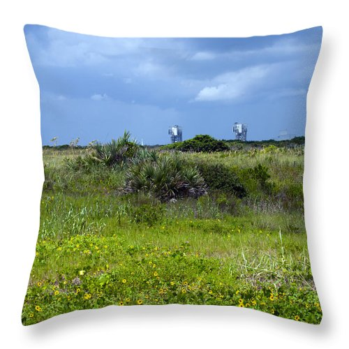 Florida; Beach; Ocean; Waves; Wave; Surf; Sand; Sandy; Coast; Shore; Atlantic; Cape; Canaveral; Scen Throw Pillow featuring the photograph Cape Canaveral Florida by Allan Hughes