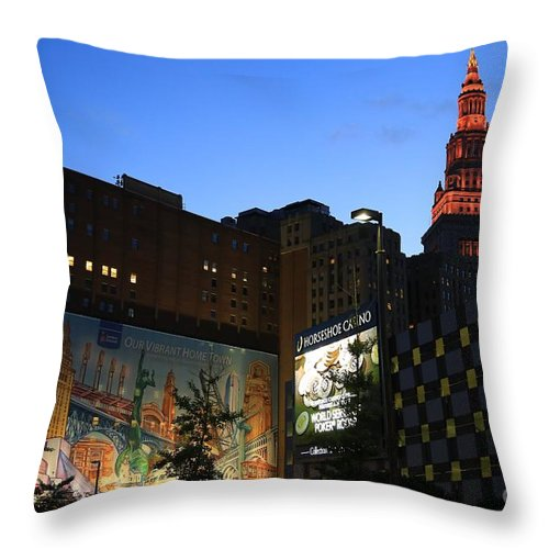 Destination Throw Pillow featuring the photograph Terminal Tower And Sherwin Williams Building In Cleveland, Ohio, Usa by Douglas Sacha