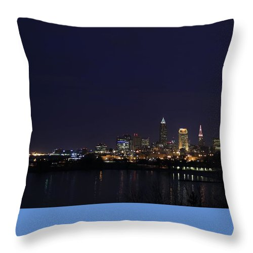 Destination Throw Pillow featuring the pyrography Cleveland Skyline On The Frozen Lake Erie Shore by Douglas Sacha