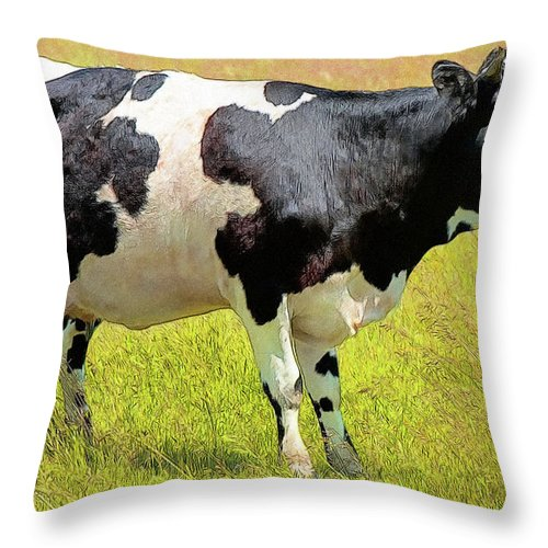 Cow Throw Pillow featuring the digital art Cow by Anna J Davis