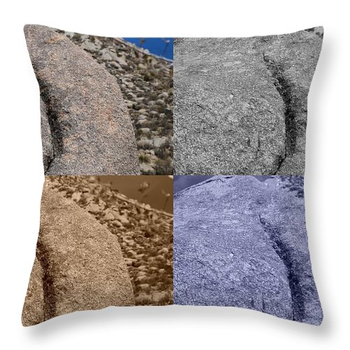 Sepia Throw Pillow featuring the photograph 4 Crack Rocks New Mexico by Rob Hans