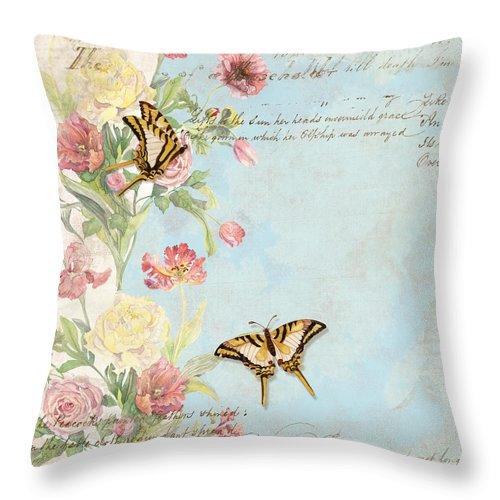 Butterfly Throw Pillow featuring the painting Fleurs De Pivoine - Watercolor W Butterflies In A French Vintage Wallpaper Style by Audrey Jeanne Roberts