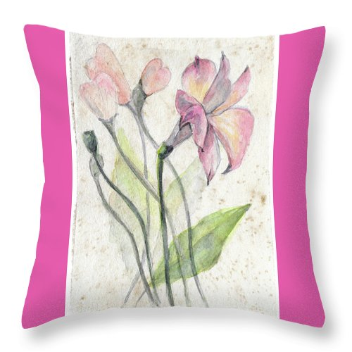 Flower Throw Pillow featuring the painting Flowers by Yana Sadykova