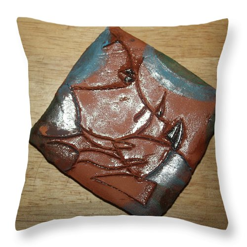 Jesus Throw Pillow featuring the ceramic art Friends - Tile by Gloria Ssali