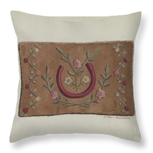 Throw Pillow featuring the drawing Hooked Rug by Lillian M. Mosseller