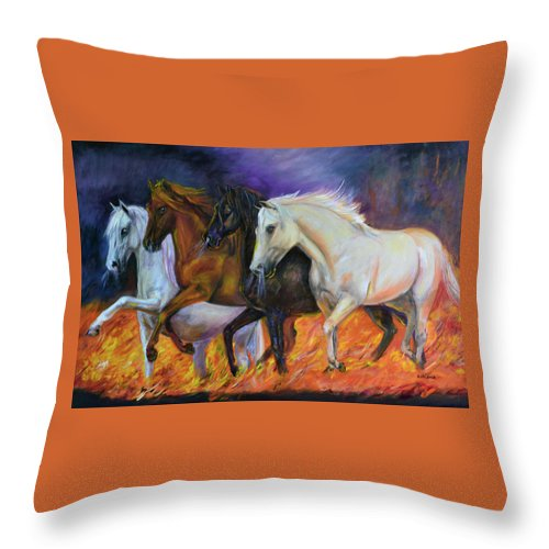 Horse Throw Pillow featuring the painting 4 Horses Of The Apocalypse by Olga Kaczmar