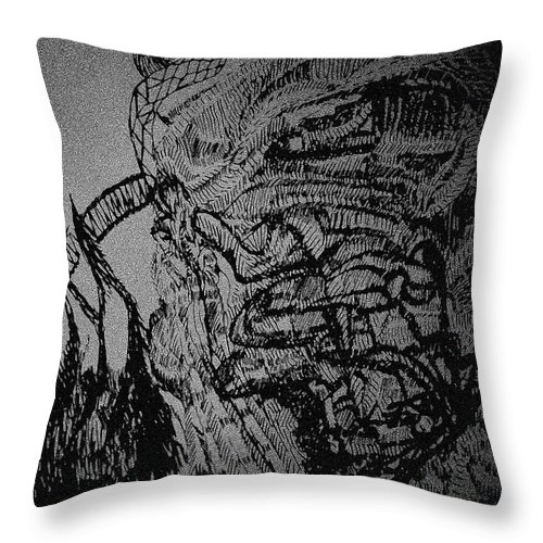 Tilesjesus Elohimplaquesmamamama Africa Twojesus Throw Pillow featuring the drawing Jesus The Good Shepherd by Gloria Ssali