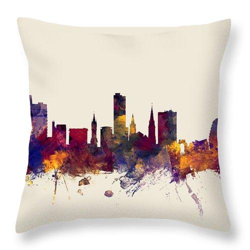 City Throw Pillow featuring the digital art Leicester England Skyline by Michael Tompsett