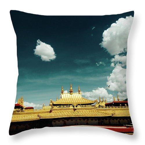 Tibet Throw Pillow featuring the photograph Lhasa Jokhang Temple Fragment Tibet Artmif.lv by Raimond Klavins