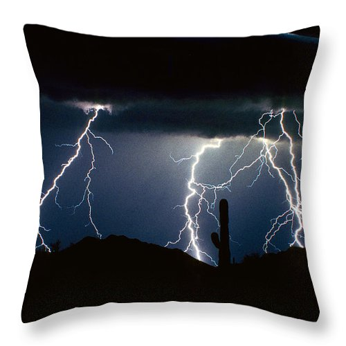 Landscape Throw Pillow featuring the photograph 4 Lightning Bolts Fine Art Photography Print by James BO Insogna
