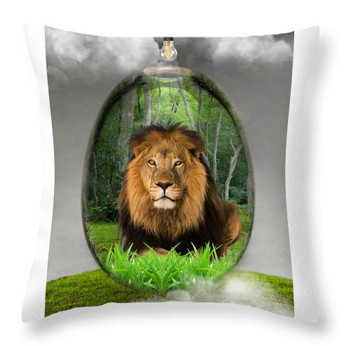 Lion Throw Pillow featuring the mixed media Lion Art by Marvin Blaine