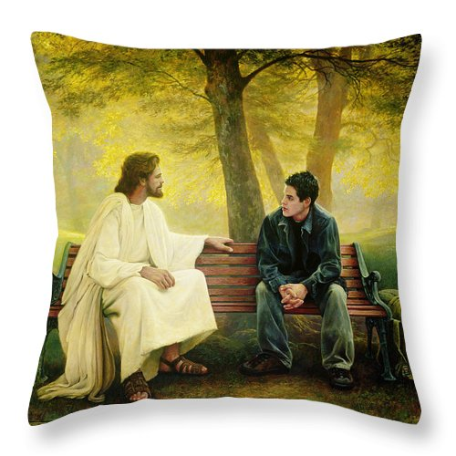 Jesus Throw Pillow featuring the painting Lost And Found by Greg Olsen
