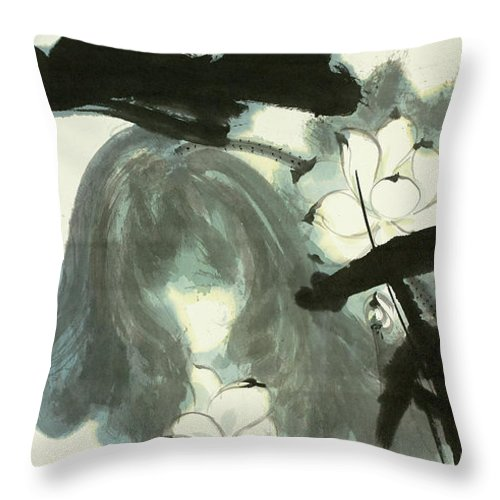 Lotus Plum Peony Flower Throw Pillow featuring the painting Lotus by Zhang Daqian
