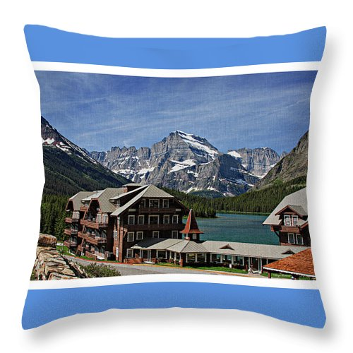 Many Throw Pillow featuring the photograph Many Glacier Hotel by Margie Wildblood