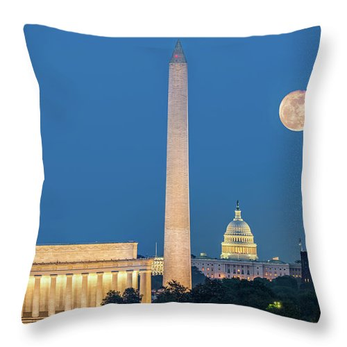 America Throw Pillow featuring the photograph 4 Monuments by Mihai Andritoiu