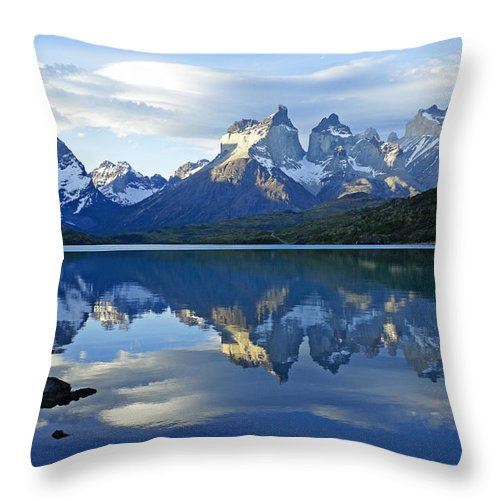 Patagonia Throw Pillow featuring the photograph Patagonia Reflection by Michele Burgess