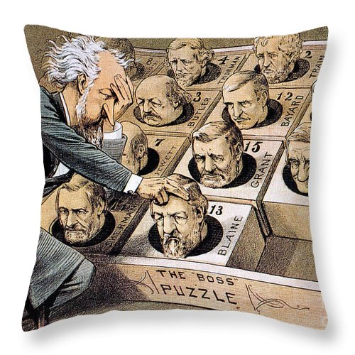 1880 Throw Pillow featuring the photograph Presidential Campaign, 1880 by Granger