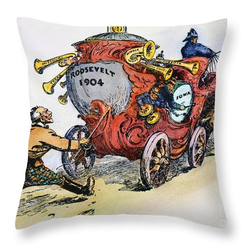 1902 Throw Pillow featuring the photograph Presidential Campaign 1904 by Granger