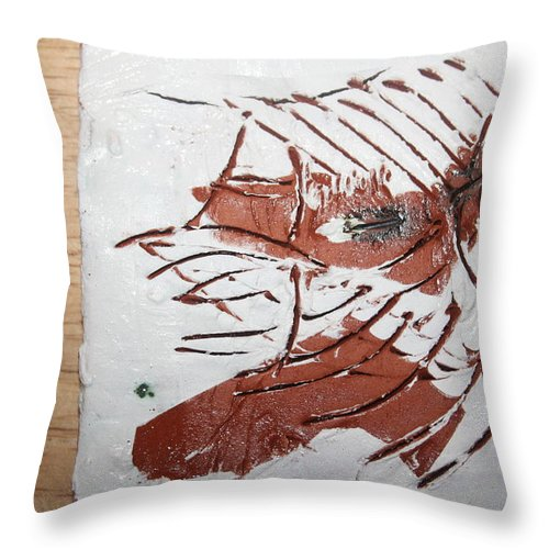 Jesus Throw Pillow featuring the ceramic art Rest - Tile by Gloria Ssali