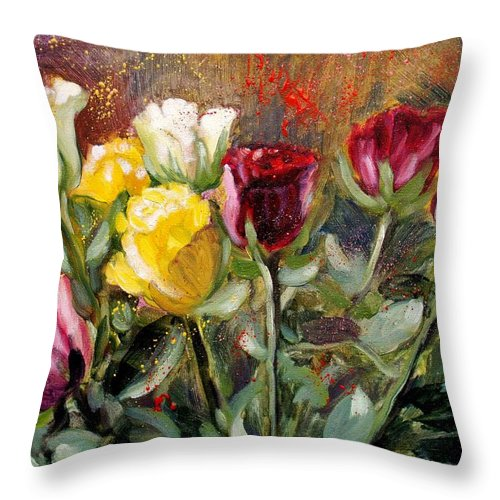 Roses Throw Pillow featuring the painting Roses by Elena Sokolova