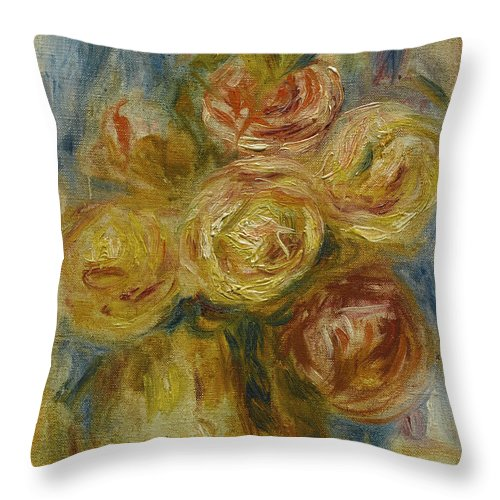 Pierre-auguste Renoir Throw Pillow featuring the painting Roses by Pierre-Auguste Renoir