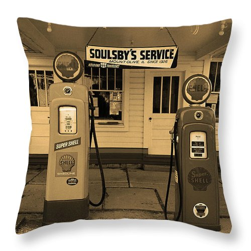 66 Throw Pillow featuring the photograph Route 66 - Soulsby Station Pumps by Frank Romeo