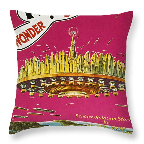 1929 Throw Pillow featuring the photograph Science Fiction Magazine by Granger