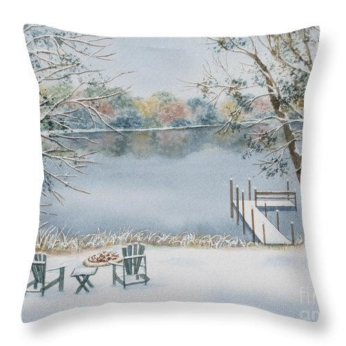 Lake Throw Pillow featuring the painting 4 Seasons-winter by Deborah Ronglien