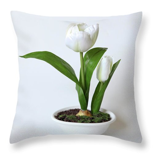 White Throw Pillow featuring the photograph Silk Flower by Oren Shalev