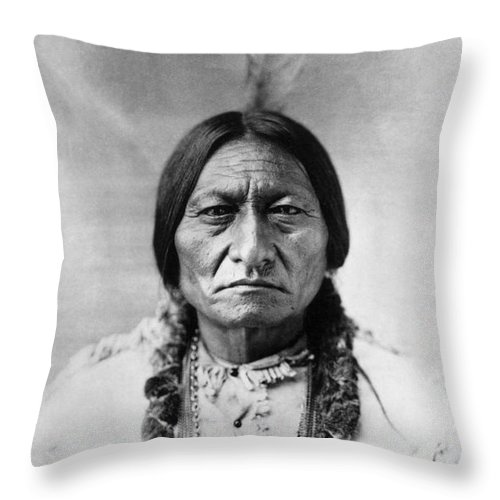 19th Century Throw Pillow featuring the photograph Sitting Bull 1834-1890 by Granger