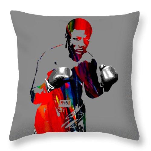 Joe Frazier Throw Pillow featuring the mixed media Smokin Joe Frazier Collection by Marvin Blaine