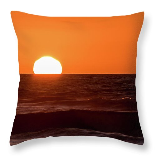 Sunset Throw Pillow featuring the photograph Sunset Over The Ocean by Eric Strickland