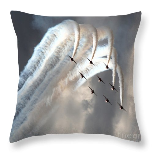 Red Arrows Throw Pillow featuring the photograph the Diamond Bend by Angel Ciesniarska