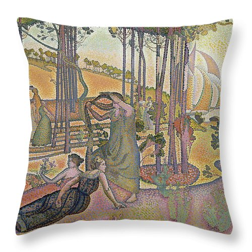 France Throw Pillow featuring the painting The Evening Air by Henri Edmond Cross
