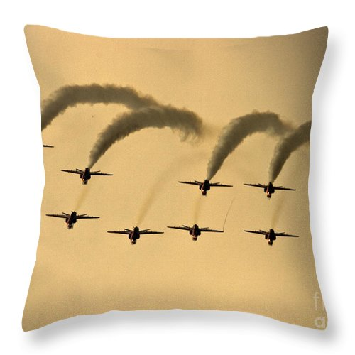 Red Arrows Throw Pillow featuring the photograph The Red Arrows by Angel Ciesniarska