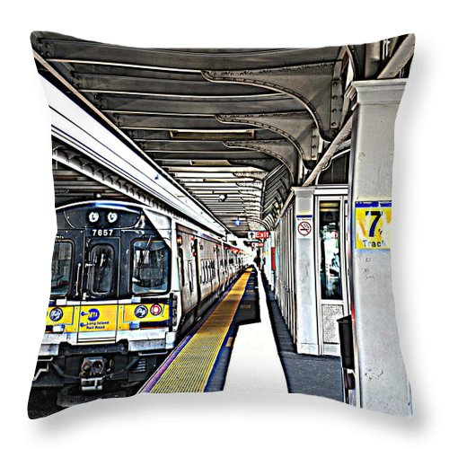 Train Throw Pillow featuring the photograph Train Station Series by Rhona Lawrence