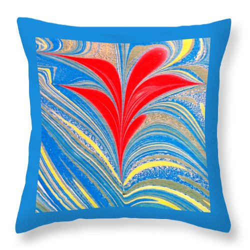 Flower Throw Pillow featuring the painting Water Marbling Art, Ebru by Dilan C