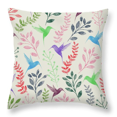 Acrylic Throw Pillow featuring the digital art Watercolor Floral And Birds by Amir Faysal