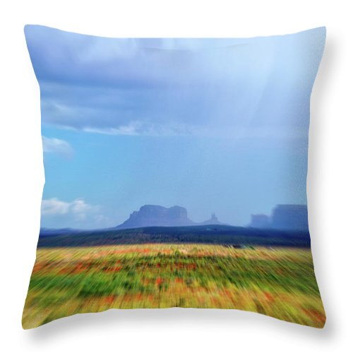 Monument Valley Throw Pillow featuring the mixed media 4 Wheeling With The Storm Cell Approaching Monument Valley 06 4 by Thomas Woolworth