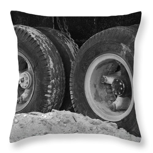 Black And White Throw Pillow featuring the photograph 4 Wheels And Sand by Rob Hans