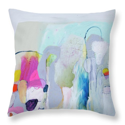 Abstract Throw Pillow featuring the painting 4 Years Ago by Claire Desjardins