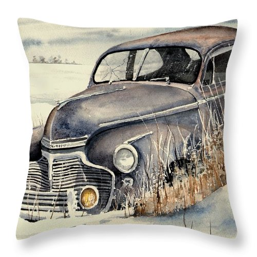 Auto Throw Pillow featuring the painting 40 Chevy by Sam Sidders