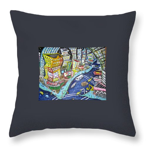 Times Square Throw Pillow featuring the painting 42nd And 8th Street by Jason Gluskin