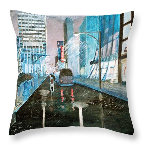 Street Scape Throw Pillow featuring the painting 42nd Street Blue by Steve Karol