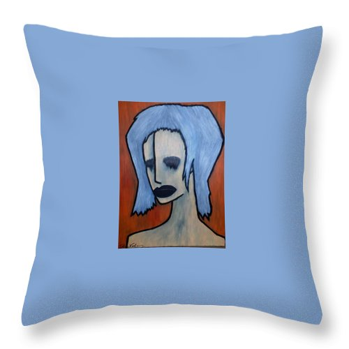 Potrait Throw Pillow featuring the painting Halloween by Thomas Valentine