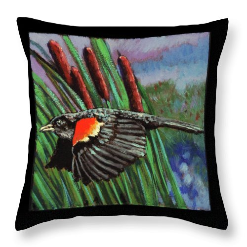 Red Wing Blackbird Throw Pillow featuring the painting Birdman Of Alcatraz Detail by John Lautermilch